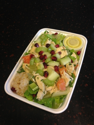 Greek Chicken Salad with Romaine, Lentils Pomegranates, Walnuts, Mint Balsamic Vinaigrette