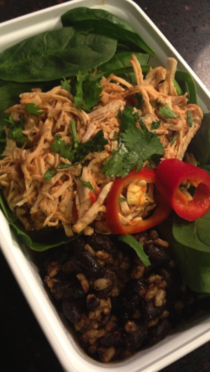Southwest Pulled Turkey, Spinach, Beans & Rice, Pickled Jalapeno & Cilantro