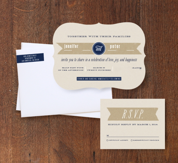 Kraft Label Wedding Invitations from Minted; Details blurred/removed for privacy