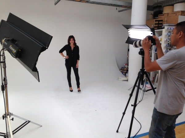 In San Francisco, on set at Joyus.com. Wearing a fabulous popover blouse in black by Velvet.
