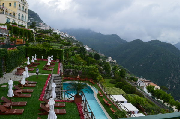 The gorgeous grounds and pool at Palazzo Avino.