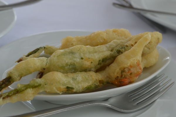 We started with fried squash blossoms...
