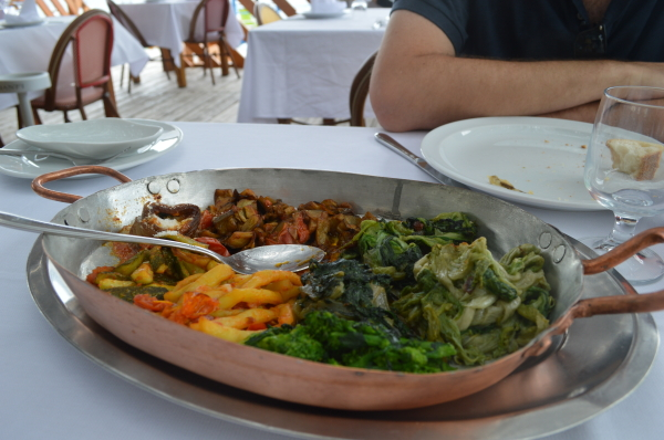 A platter of fresh vegetables plucked right from the garden… Eggplant, green beans, swiss chard and more…