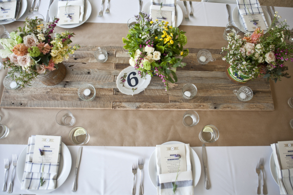 Wedding Table Setting Wood Table Runner Vintage - Perfectly Disheveled