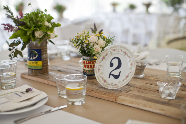 Wedding Table Setting Barn Wood Vintage - Perfectly Disheveled