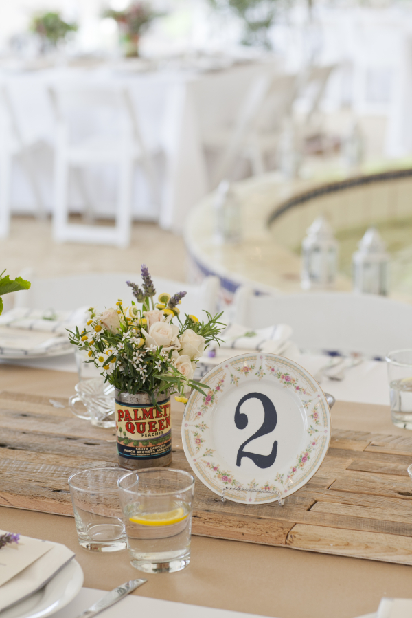 Wedding Table Setting Stenciled Plates- Photo by Leah Lee Photography