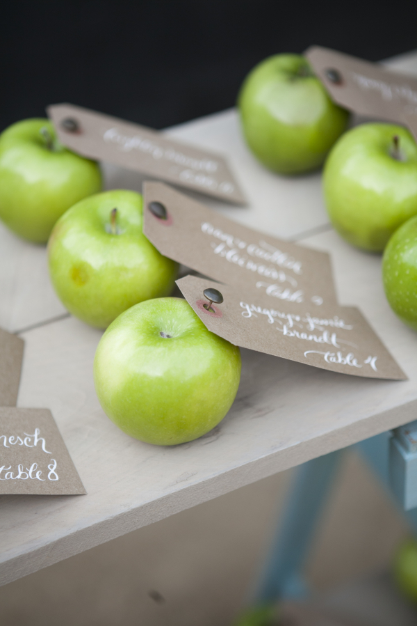 Wedding Escort Tags in Apples- Photo by Leah Lee Photography