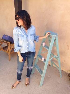 Chambray shirt, boyfriend jeans, leopard flats