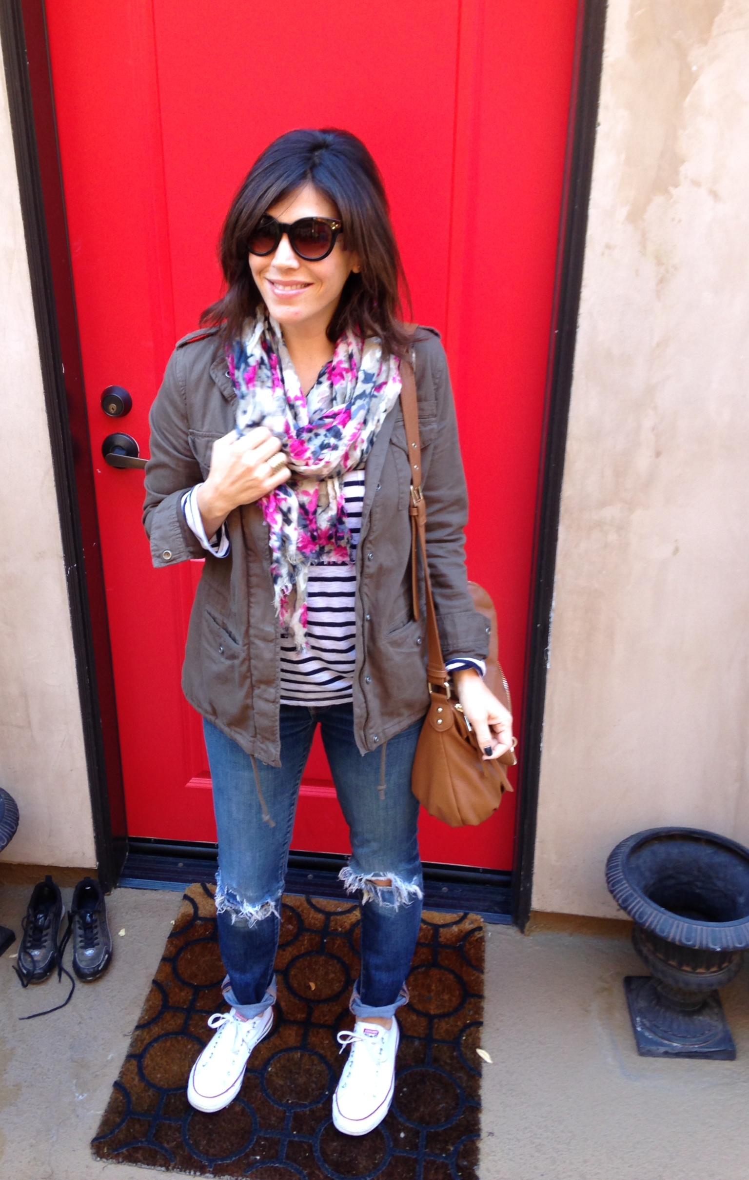Hinge jacket, Splendid Long Sleeve tee, JCrew scarf, boyfriend jeans, converse